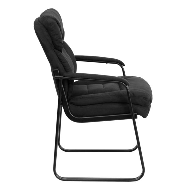 Lowest Price Black Microfiber Executive Side Reception Chair with Lumbar Support and Sled Base