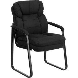 Wholesale Black Microfiber Executive Side Reception Chair with Lumbar Support and Sled Base