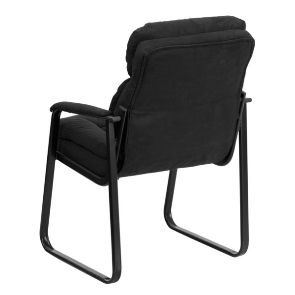 Guest Office Chair Black Microfiber Side Chair