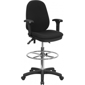 Wholesale Black Multifunction Ergonomic Drafting Chair with Adjustable Foot Ring and Adjustable Arms