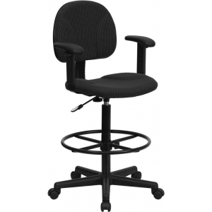 Wholesale Black Patterned Fabric Drafting Chair with Adjustable Arms (Cylinders: 22.5''-27''H or 26''-30.5''H)