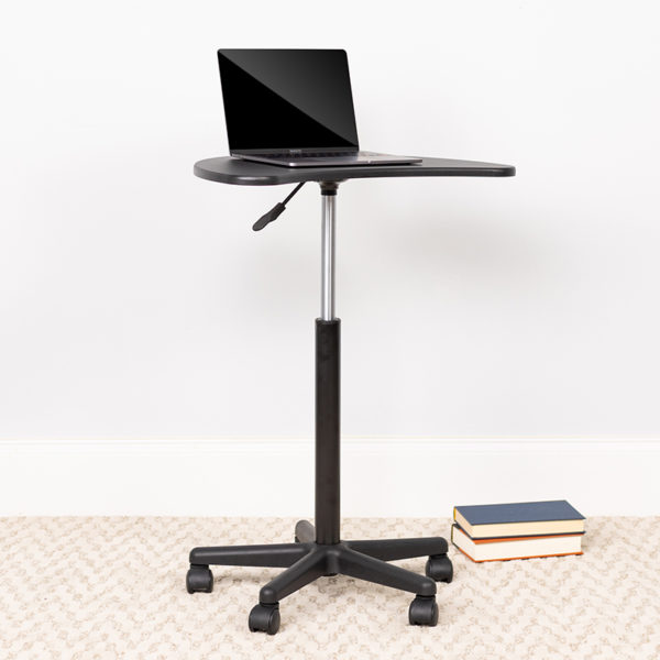 Lowest Price Black Sit to Stand Mobile Laptop Computer Desk