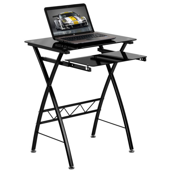 Wholesale Black Tempered Glass Computer Desk with Pull-Out Keyboard Tray