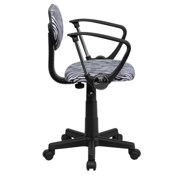 Lowest Price Black and White Zebra Print Swivel Task Office Chair with Arms