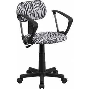 Wholesale Black and White Zebra Print Swivel Task Office Chair with Arms