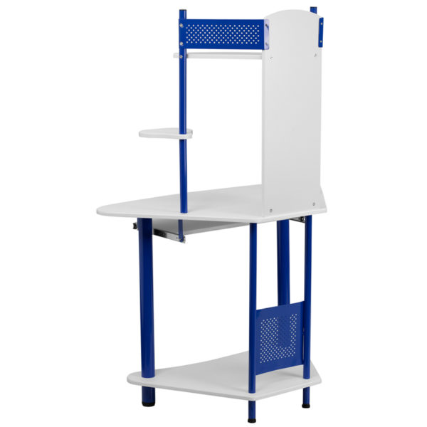 Lowest Price Blue Corner Computer Desk with Hutch