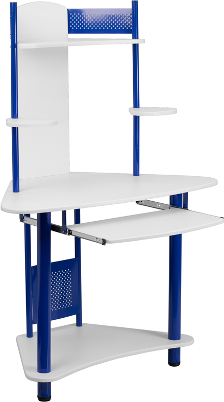 Wholesale Blue Corner Computer Desk with Hutch