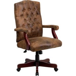 Wholesale Bomber Brown Classic Executive Swivel Office Chair with Arms