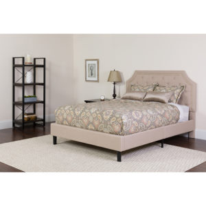 Wholesale Brighton Full Size Tufted Upholstered Platform Bed in Beige Fabric with Memory Foam Mattress