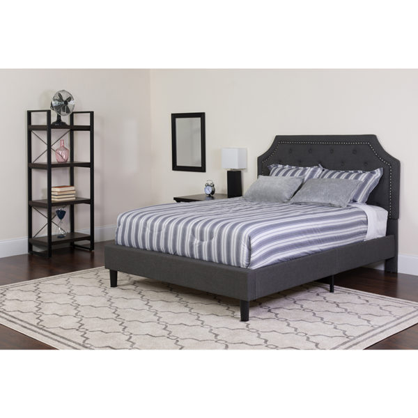 Wholesale Brighton Full Size Tufted Upholstered Platform Bed in Dark Gray Fabric with Pocket Spring Mattress