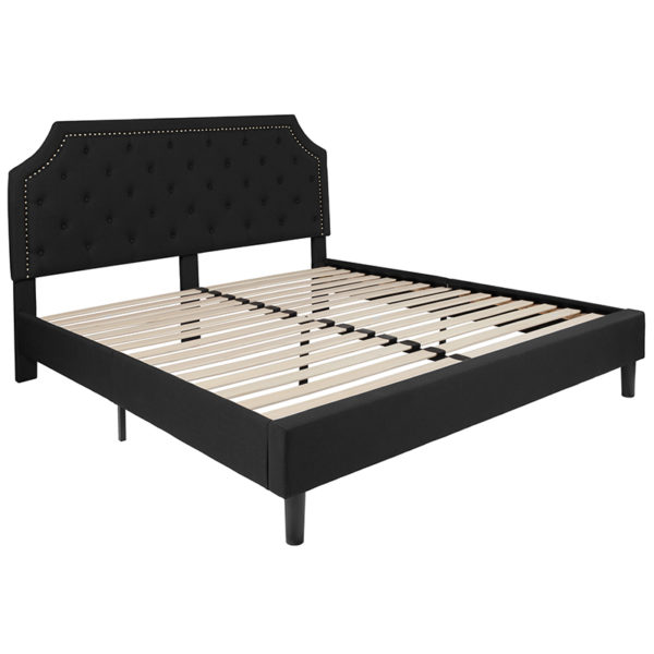 Lowest Price Brighton King Size Tufted Upholstered Platform Bed in Black Fabric