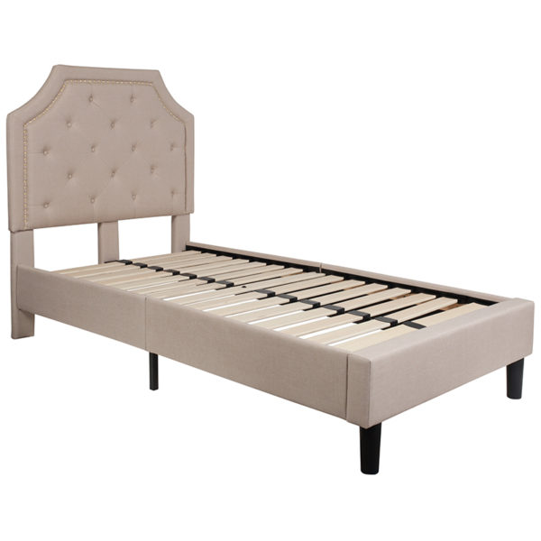 Lowest Price Brighton Twin Size Tufted Upholstered Platform Bed in Beige Fabric