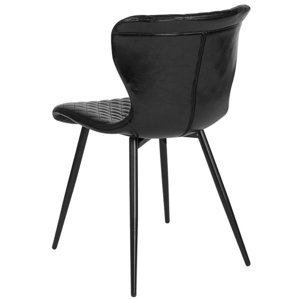 Accent Side Chair Black Vinyl Accent Chair