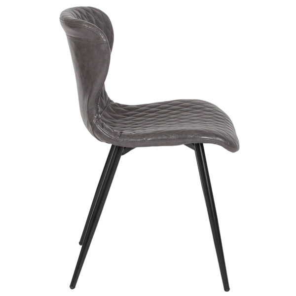 Lowest Price Bristol Contemporary Upholstered Chair in Gray Vinyl