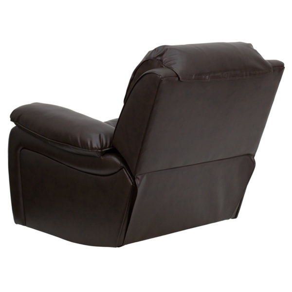 Contemporary Style Brown Leather Rocker Recliner