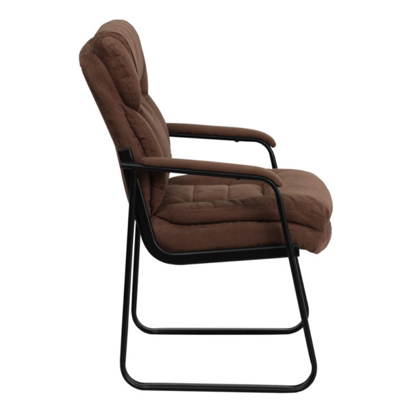 Lowest Price Brown Microfiber Executive Side Reception Chair with Lumbar Support and Sled Base