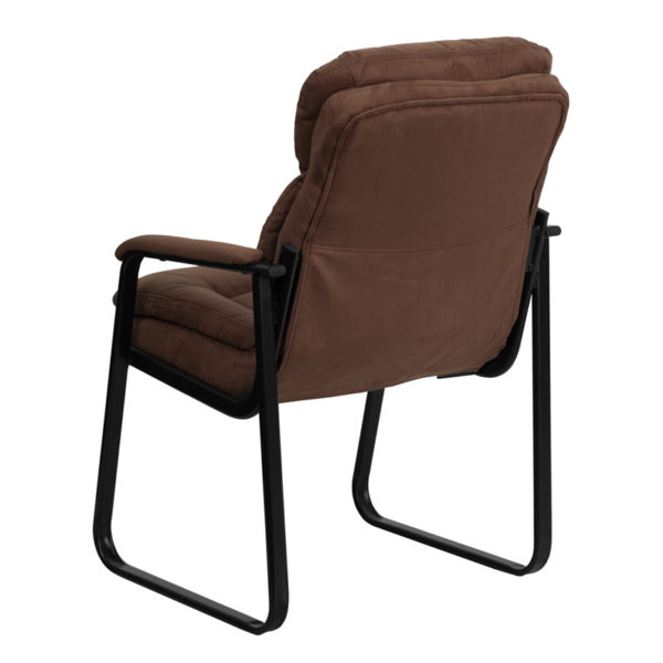 Guest Office Chair Brown Microfiber Side Chair