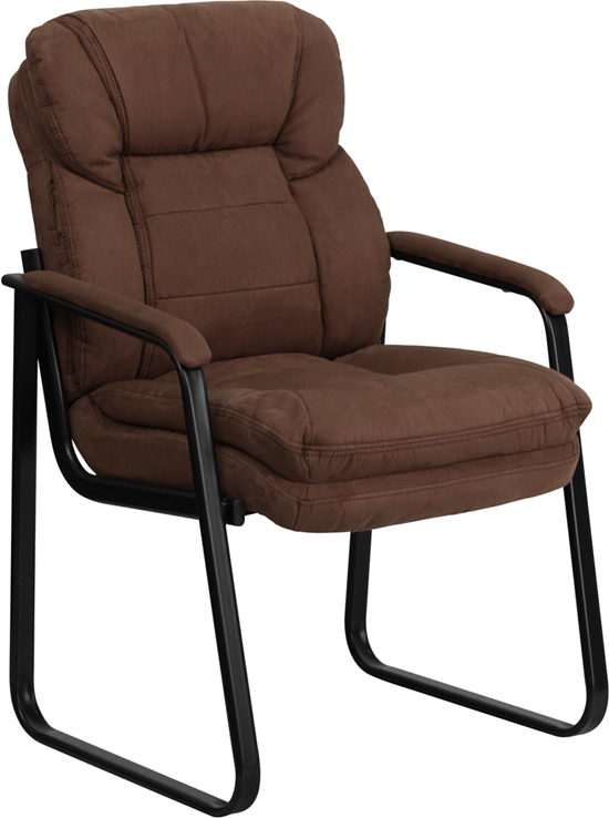 Wholesale Brown Microfiber Executive Side Reception Chair with Lumbar Support and Sled Base