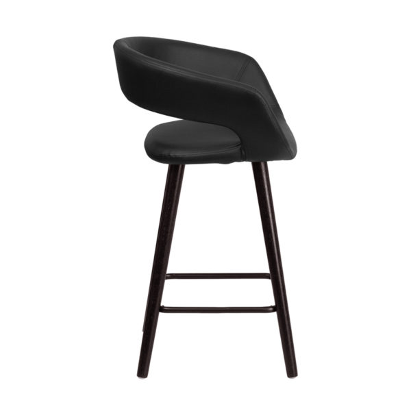 Lowest Price Brynn Series 23.75'' High Contemporary Cappuccino Wood Counter Height Stool in Black Vinyl