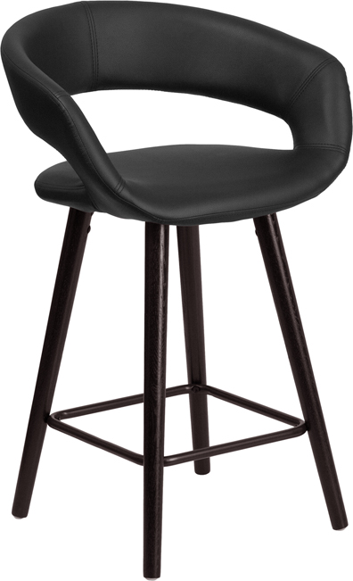 Wholesale Brynn Series 23.75'' High Contemporary Cappuccino Wood Counter Height Stool in Black Vinyl