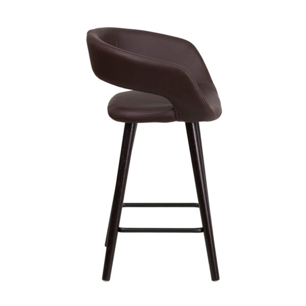 Lowest Price Brynn Series 23.75'' High Contemporary Cappuccino Wood Counter Height Stool in Brown Vinyl