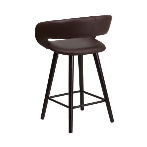 """Contemporary Style Stool 24""""H Brown Vinyl Counter Stool"""