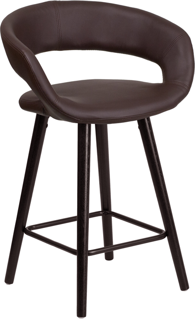 Wholesale Brynn Series 23.75'' High Contemporary Cappuccino Wood Counter Height Stool in Brown Vinyl