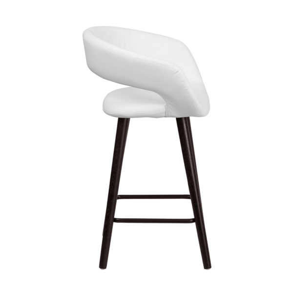 Lowest Price Brynn Series 23.75'' High Contemporary Cappuccino Wood Counter Height Stool in White Vinyl