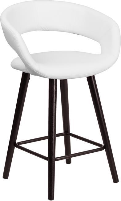 Wholesale Brynn Series 23.75'' High Contemporary Cappuccino Wood Counter Height Stool in White Vinyl
