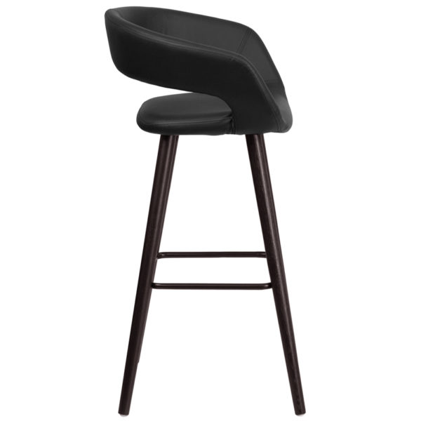 Lowest Price Brynn Series 29'' High Contemporary Cappuccino Wood Barstool in Black Vinyl