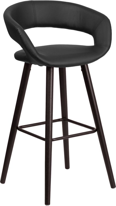Wholesale Brynn Series 29'' High Contemporary Cappuccino Wood Barstool in Black Vinyl