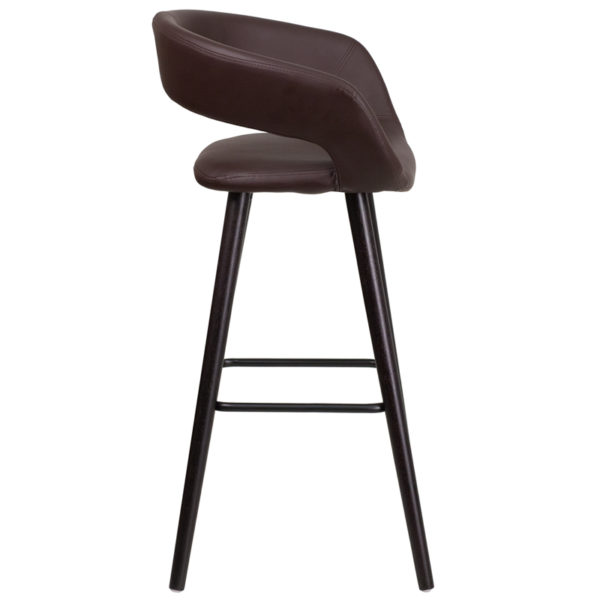 Lowest Price Brynn Series 29'' High Contemporary Cappuccino Wood Barstool in Brown Vinyl