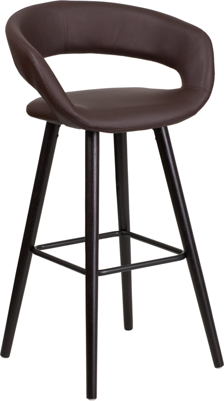 Wholesale Brynn Series 29'' High Contemporary Cappuccino Wood Barstool in Brown Vinyl
