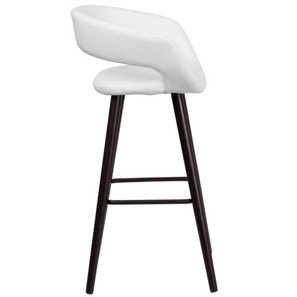 Lowest Price Brynn Series 29'' High Contemporary Cappuccino Wood Barstool in White Vinyl