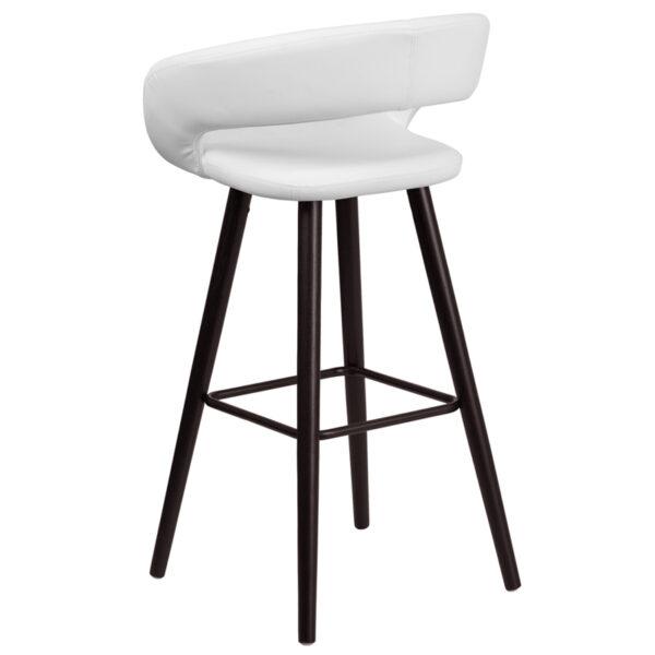"Contemporary Style Stool 29""H White Vinyl Barstool"