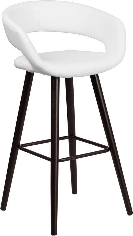 Wholesale Brynn Series 29'' High Contemporary Cappuccino Wood Barstool in White Vinyl