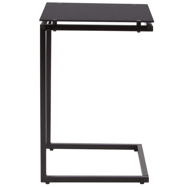 Lowest Price Burbank Black Glass End Table with Black Metal Frame