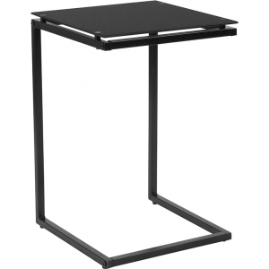 Wholesale Burbank Black Glass End Table with Black Metal Frame