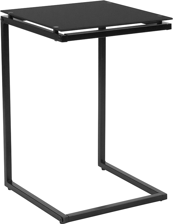 Wholesale Burbank Black Glass End Table with Black Metal Frame