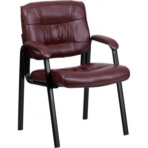 Wholesale Burgundy Leather Executive Side Reception Chair with Black Metal Frame