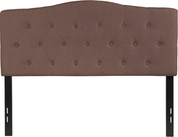 Lowest Price Cambridge Tufted Upholstered Full Size Headboard in Camel Fabric