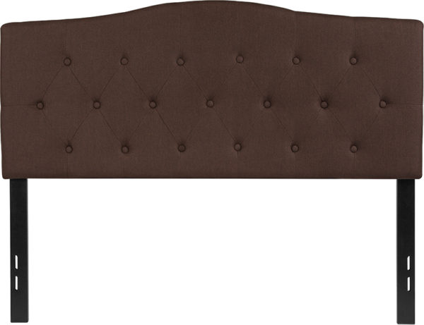 Lowest Price Cambridge Tufted Upholstered Full Size Headboard in Dark Brown Fabric