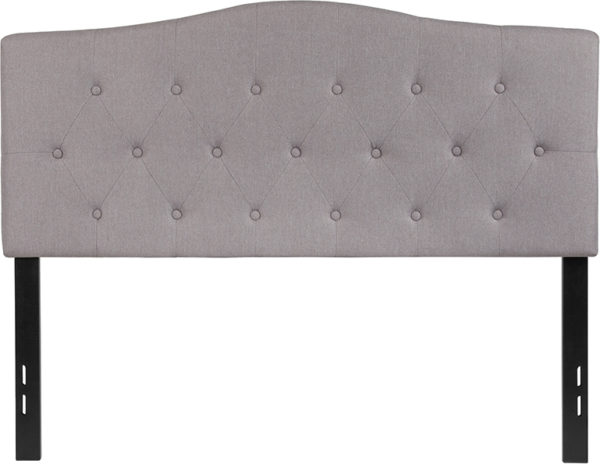 Lowest Price Cambridge Tufted Upholstered Full Size Headboard in Light Gray Fabric