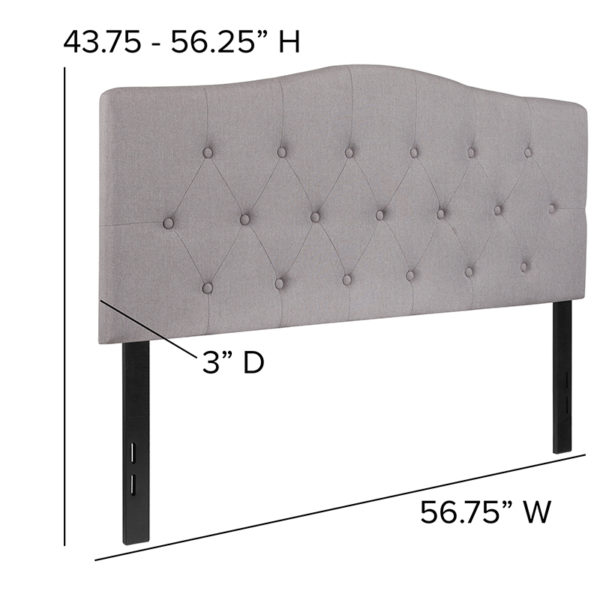 Contemporary Style Full Headboard-Gray Fabric