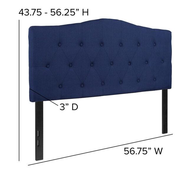 Contemporary Style Full Headboard-Navy Fabric