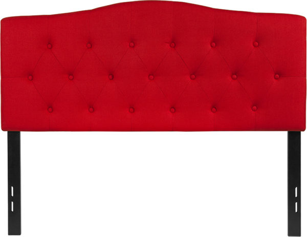 Lowest Price Cambridge Tufted Upholstered Full Size Headboard in Red Fabric