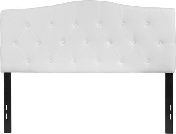 Lowest Price Cambridge Tufted Upholstered Full Size Headboard in White Fabric
