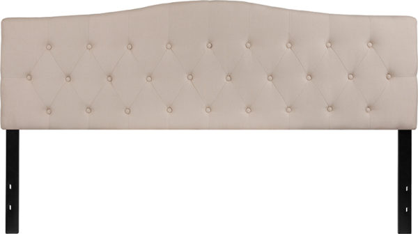 Lowest Price Cambridge Tufted Upholstered King Size Headboard in Beige Fabric
