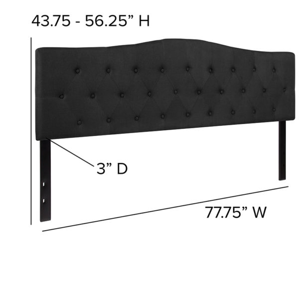 Contemporary Style King Headboard-Black Fabric
