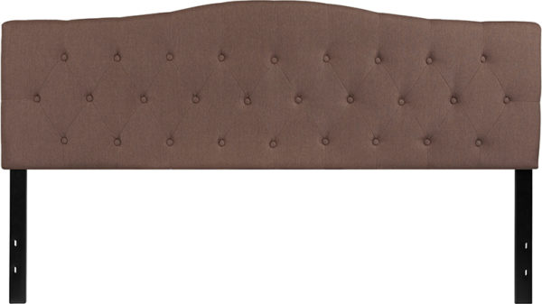 Lowest Price Cambridge Tufted Upholstered King Size Headboard in Camel Fabric